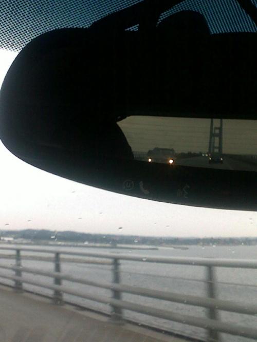 Cieśnina Wielki Bełt, przed nami i za nami w lusterku #Cieśnina #most #WielkiBełt #Dania