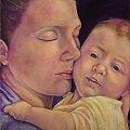 wymiary: 40 x 50 cm, malowany farbami akrylowymi na lnianym płótnie; werniksowany; (w kolekcji prywatnej) #akryl #dziecko #macierzyństwo #malarstwo #matka #obraz