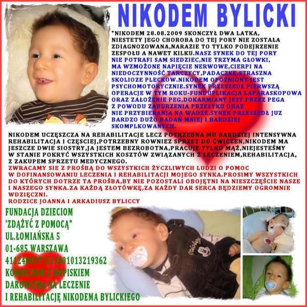 Nikodem Bylicki - opóźnienie psychoruchowe, zespół cech dysmorficznych, niedoczynność tarczycy, zaburzenia połykania, niedobór masy ciała --- http://pomagamy.dbv.pl/ #NikodemArkadiuszBylicki #OpóźnieniePsychoruchowe #pomagamydbvpl #pomoc
