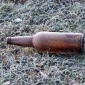 Ładnie zmrożona....zima potrafi być miła #butelka #mroz #trawa #szron