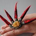 pierścionek Irokez #filc #bursztyn #srebro #design #BiżuteriaAutorska #pierścionek #jewelry