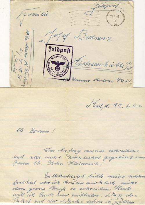 U-boot Schule Artillerie . KIEL 17,06,1941---23,06,1941 . 2 x Feldpost 6 / S.A.S Schiffsartillerie schule,
