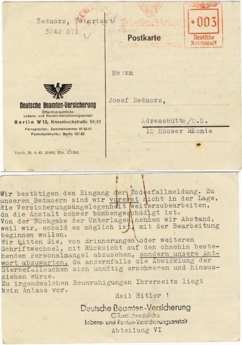 Wir bestätigen den Eingang der Todesfallmeldung . 05,06,1943.