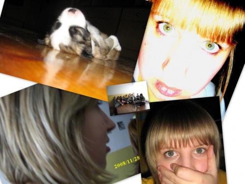 Pucek, ja, ja, ja, a w środeczku większość mojej klasy! #dziewczyna #pies #kolaż